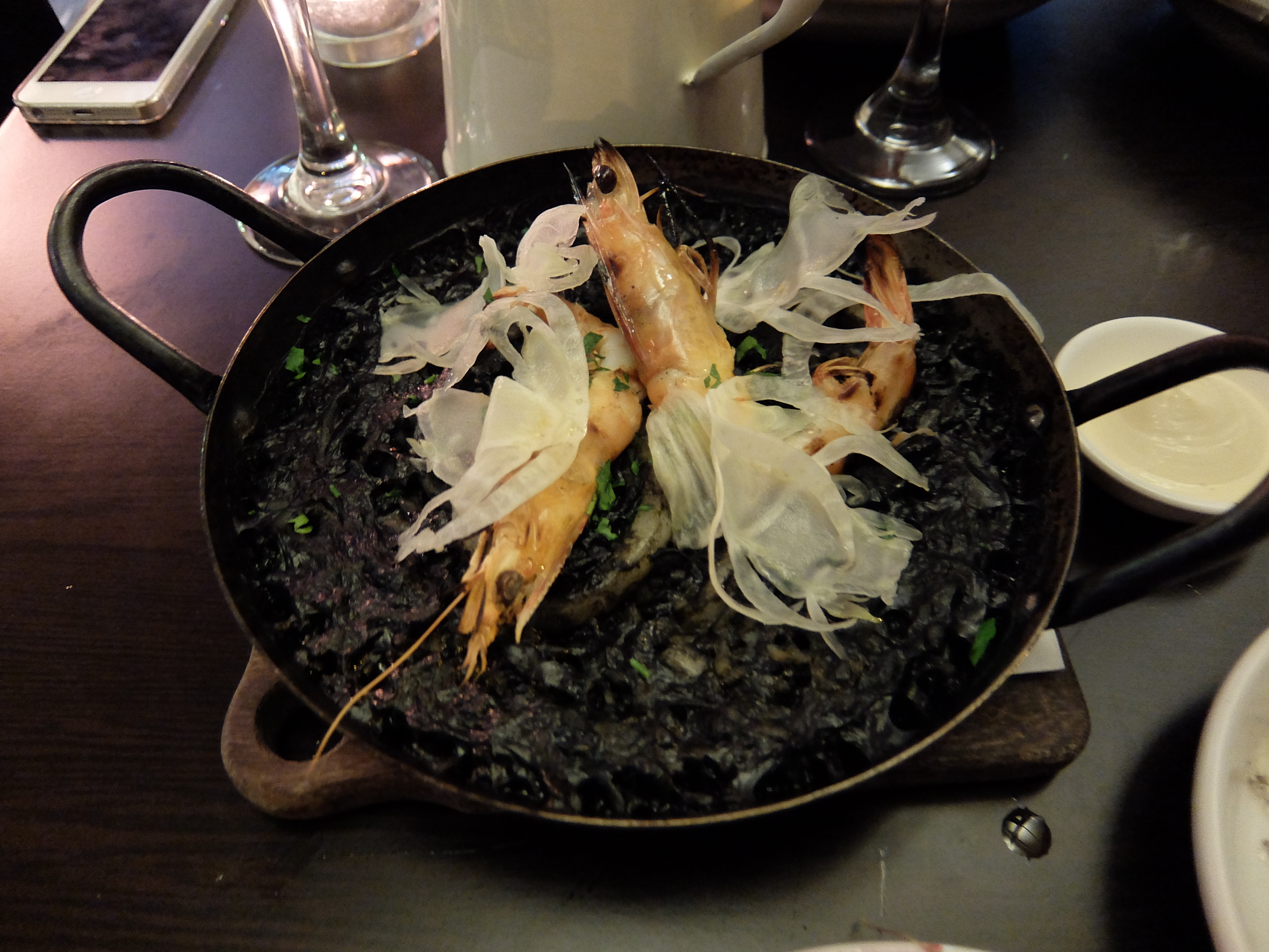 Squid ink and tiger prawn paella